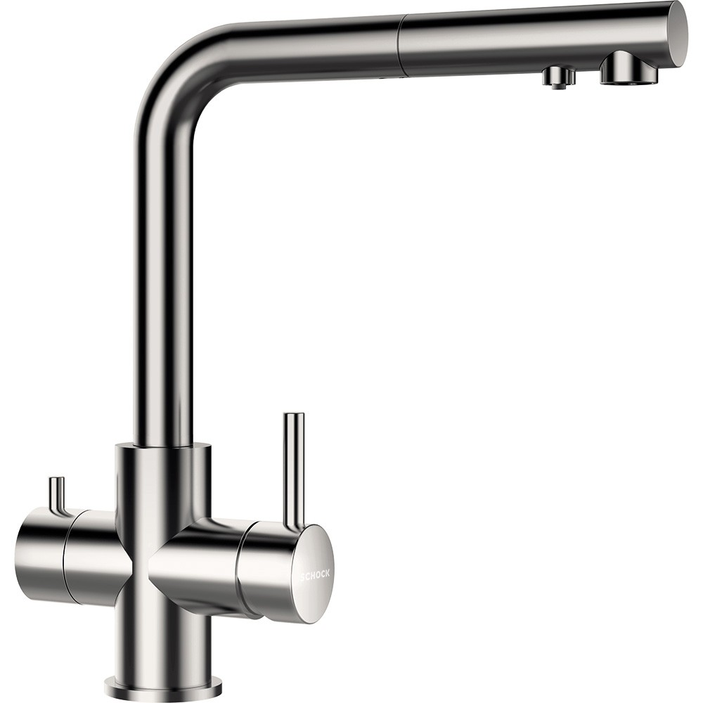 Schock Vitus konyhai csaptelep Inox kihúzható zuhanyfejjel, szűrt és szűretlen víznek, kerámiabetét