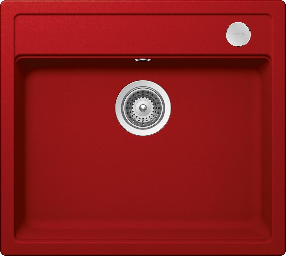 Schock Mono N-100 Gránit Mosogató 570 x 510 mm Lefolyó Távműködtetővel Piros Cristadur
