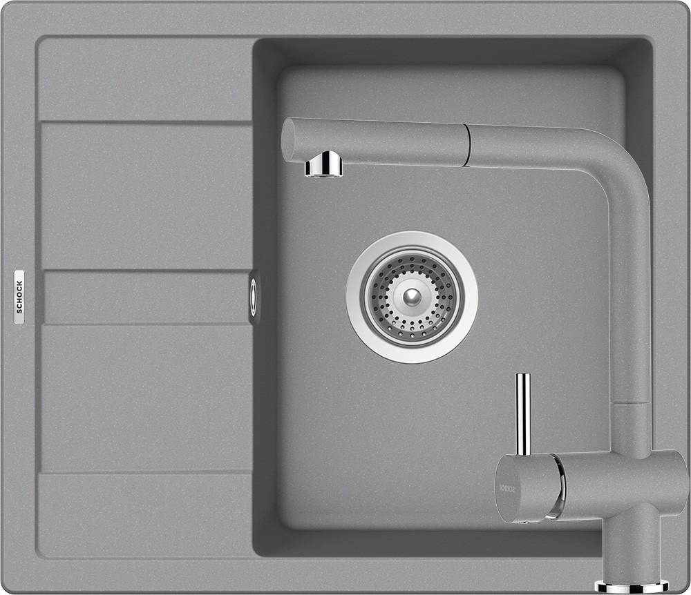 Schock Ronda D-100 Mosogató 580 x 500 mm és Schock Epos Csaptelep Kihúzható Zuhanyfejjel Croma Cristalite Szett