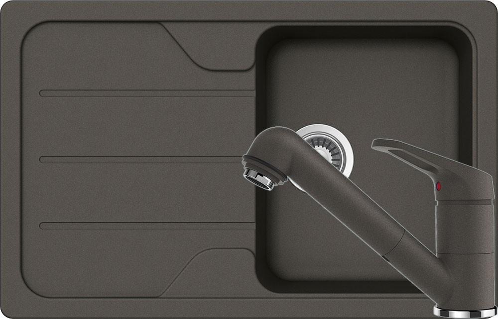 Schock Formhaus D-100S Mosogató 780 x 500 mm és Schock Cosmo Csaptelep Kihúzható Zuhanyfejjel Asphalt Cristalite Szett