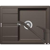 Set Chiuveta Schock Ronda D-100L 650 x 500 mm si Baterie Schock Cosmo Nero Cristalite