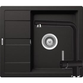 Schock Ronda D-100 Mosogató 580 x 500 mm és Schock Epos Csaptelep Kihúzható Zuhanyfejjel Nero Cristalite Szett